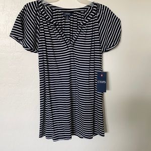 NWT Chaps Top - Navy Blue and White
